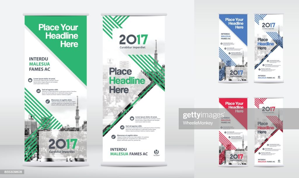 City Background Business Roll Up Flag Banner Design Template Set ...
