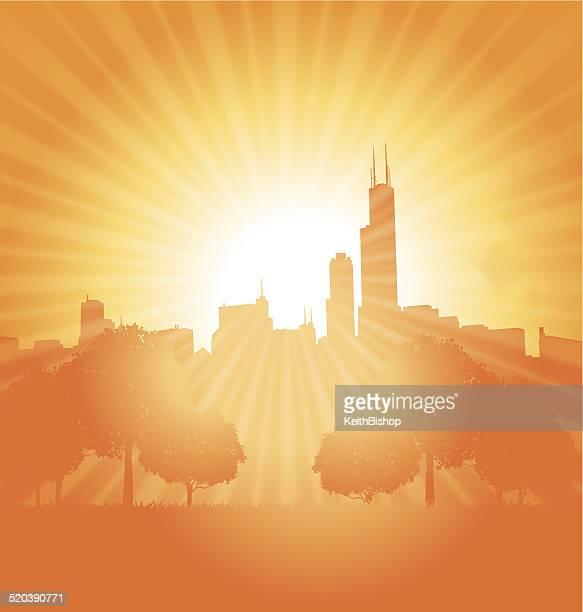 city background sun burst background - chicago loop stock illustrations, clip art, cartoons, & icons