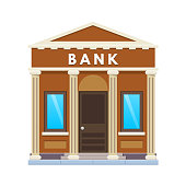City bank building facade. Financial activity, customer service, deposits, partnership
