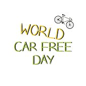 city bicycle on a white background and the words international Car Free Day
