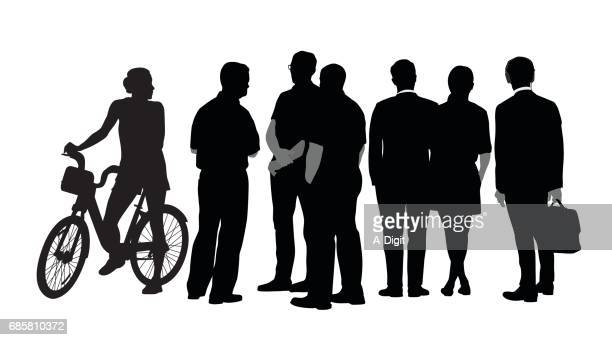 city bicycle rental silhouette - population explosion stock illustrations