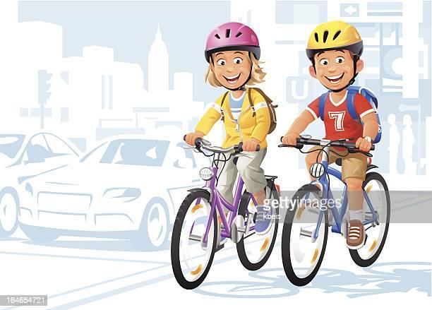 city bikers - bike helmet stock illustrations, clip art, cartoons, & icons