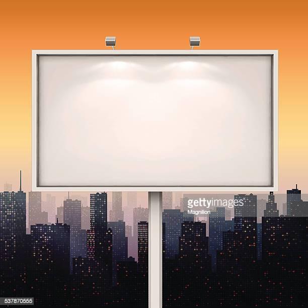 city billboard - back lit stock illustrations