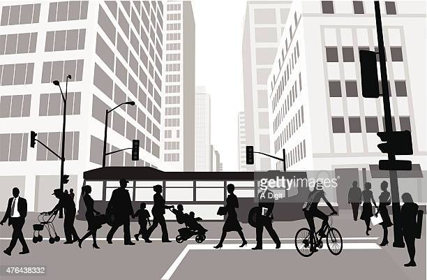 city block pedestrians - pedestrian stock illustrations, clip art, cartoons, & icons