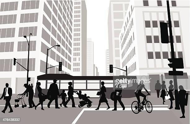 city block pedestrians - commuter stock illustrations, clip art, cartoons, & icons