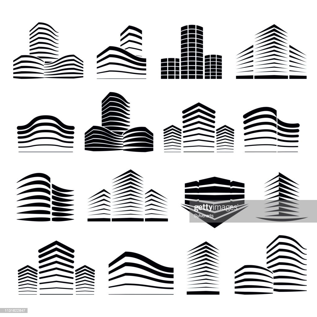 City building business financial office vector designs set. Futuristic architecture illustrations. Real estate realty office center designs. 3D futuristic facades in big city. Can be used as icons.