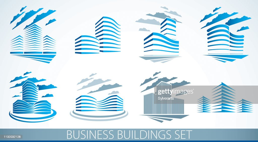 City building business financial office vector designs set. Futuristic architecture illustrations collection. Real estate realty office center designs. 3D futuristic facades in big city.