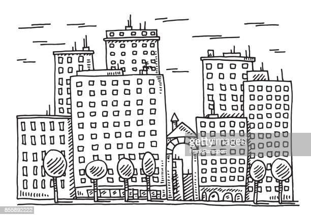 Städtebau-Fassade-Zeichnung