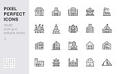 City building line icons set. Hospital, hotel, bank, mall, government hall, castle, police minimal vector illustrations. Simple flat outline sign for web, app. 30x30 Pixel Perfect. Editable Strokes