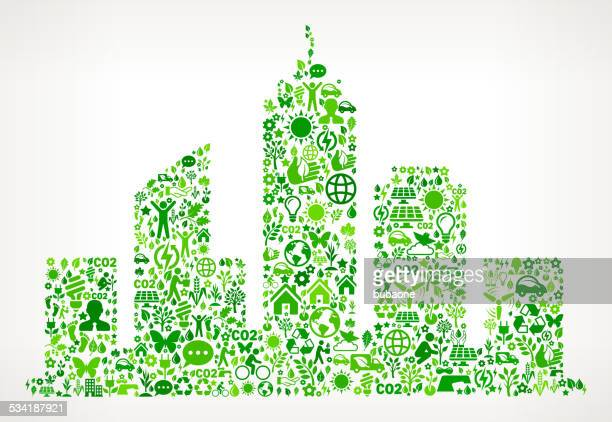city buildings environmental conservation and nature interface icon pattern - energy efficient stock illustrations, clip art, cartoons, & icons