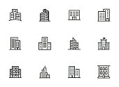 City buildings line icon set