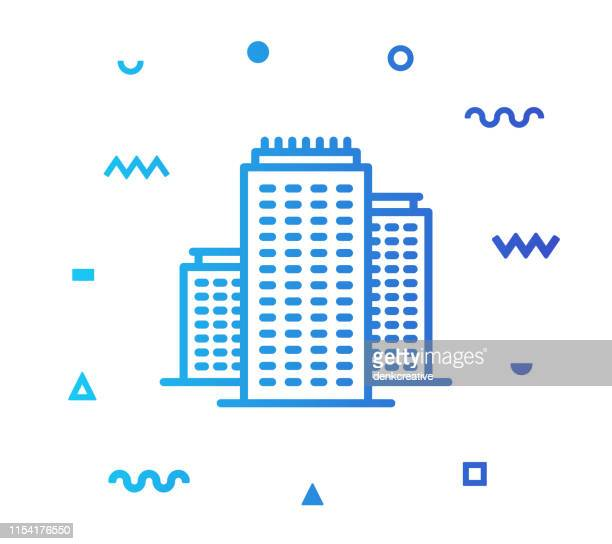 City Buildings Line Style Icon Design