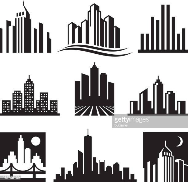city buildings logo black & white vector icon set - skyscraper stock illustrations