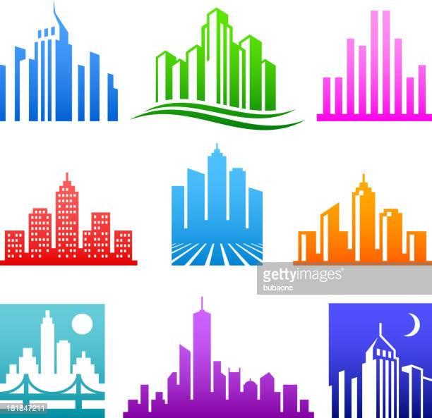 ilustraciones, imágenes clip art, dibujos animados e iconos de stock de edificios de la ciudad de logotipo de color conjunto de iconos vectoriales sin royalties - puente colgante
