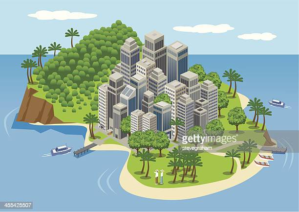 city buildings on a tropical island. - island stock illustrations