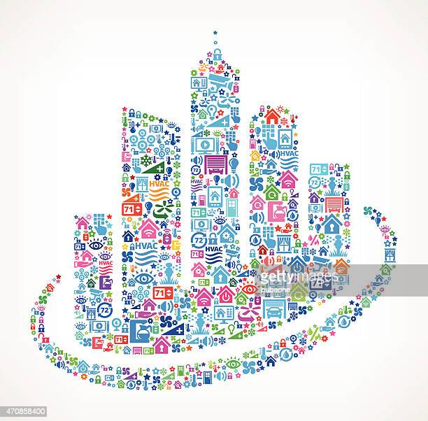 City buildings on Home Automation and security background