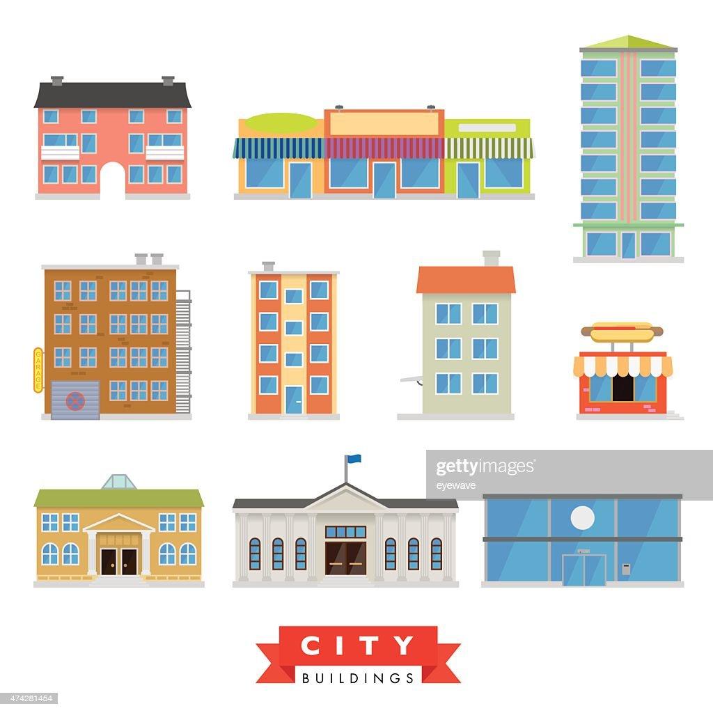City Buildings Vector Set