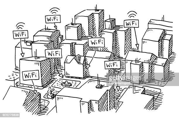 City Buildings WiFi Spots Drawing