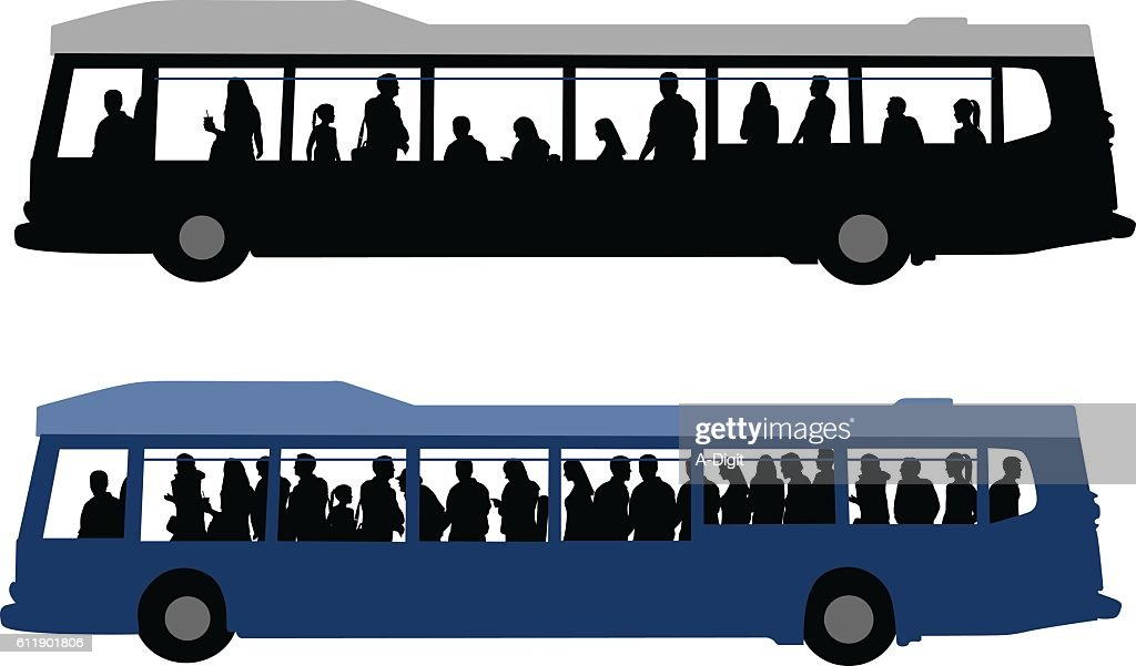 City Bus Crowds : stock illustration