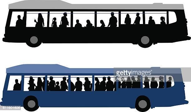 city bus crowds - bus stock illustrations