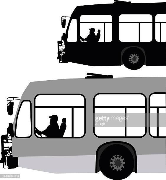 City Bus In Black And White Vector Silhouette