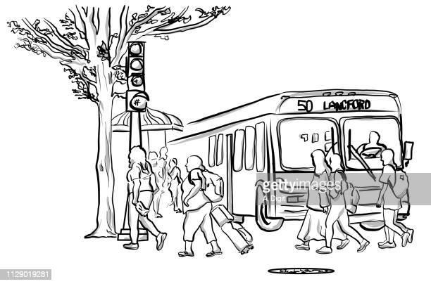 illustrations, cliparts, dessins animés et icônes de patrons de la ville bus - abribus
