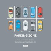 City car parking vector illustration in flat style