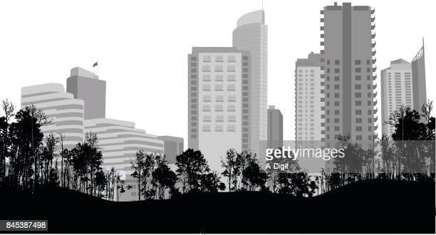 city centre park view - treelined stock illustrations, clip art, cartoons, & icons