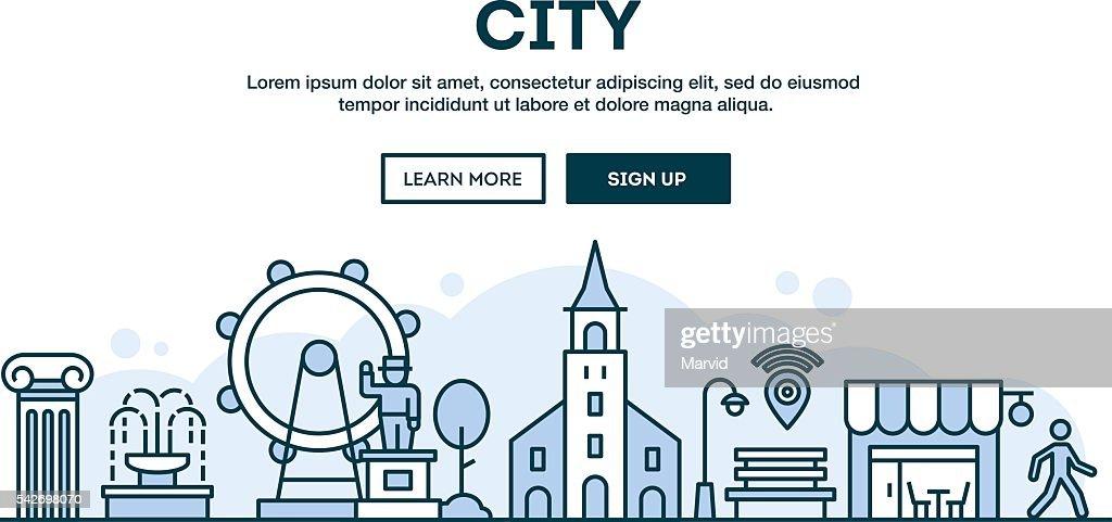 City, concept header, flat design thin line style