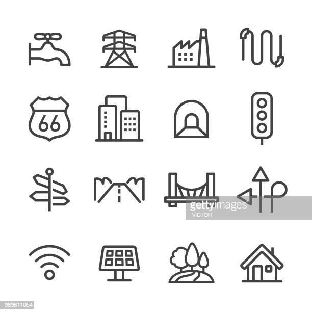 city construction icons set - line series - bridge built structure stock illustrations, clip art, cartoons, & icons