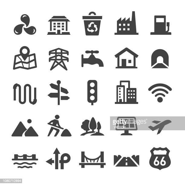 city construction icons set - smart series - crude oil stock illustrations