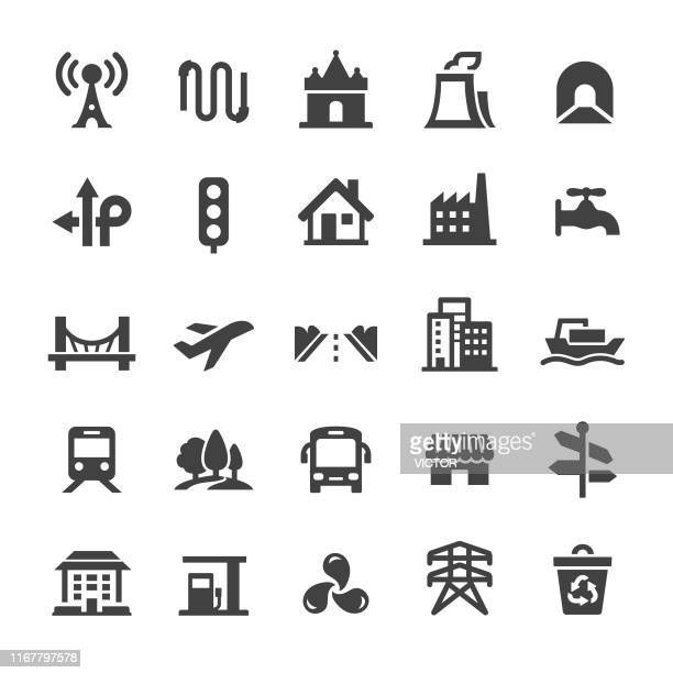 city construction icons - smart series - human settlement stock illustrations