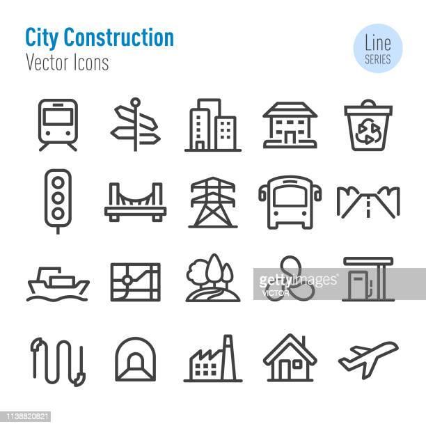 ilustrações, clipart, desenhos animados e ícones de ícones da construção da cidade-linha série do vetor - vida urbana