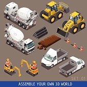 City Construction Transport Isometric Flat 3d Icon Set 1