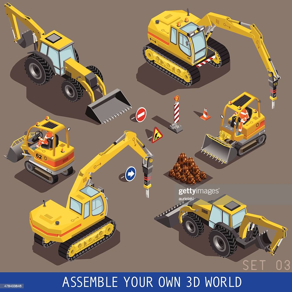 City Construction Transport Isometric Flat 3d Icon Set 3