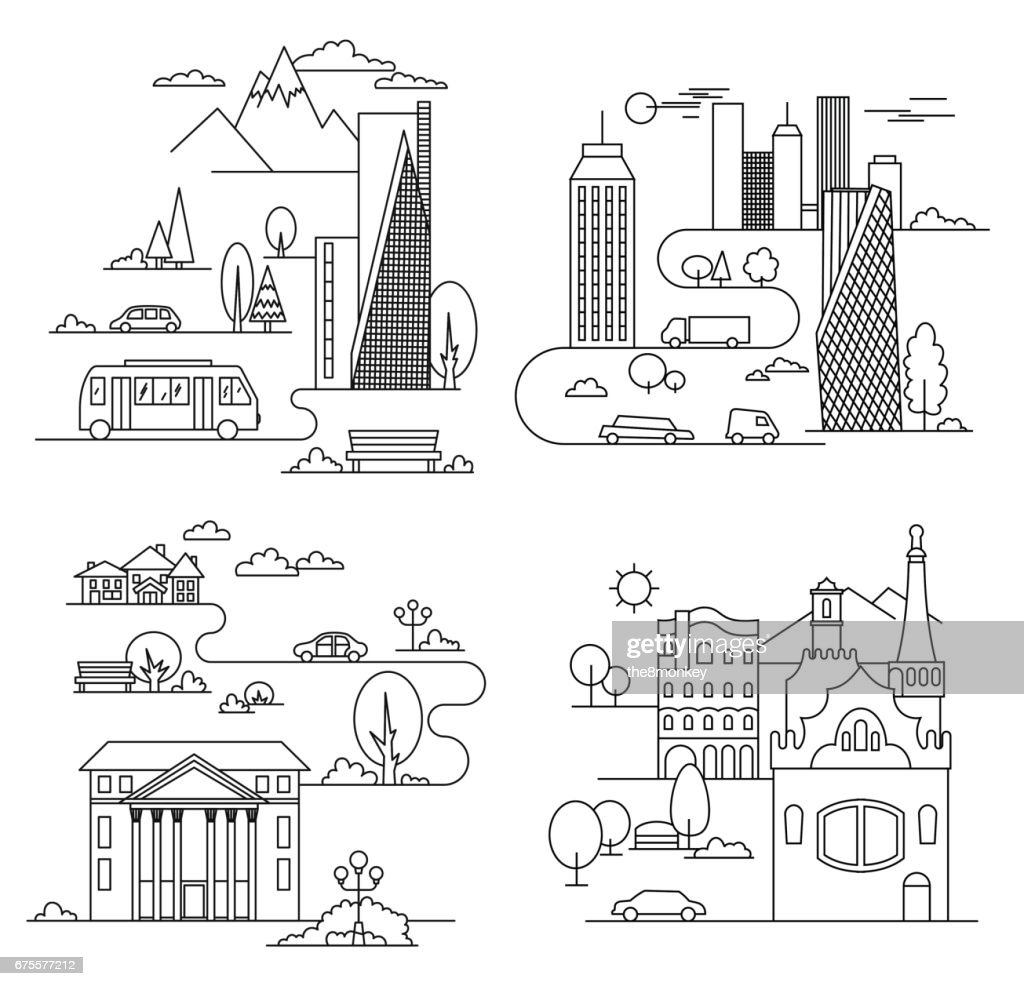 City design elements. Linear style. Vector illustration