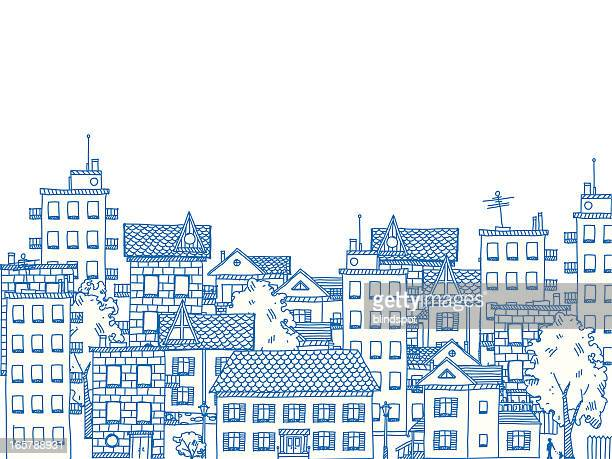city drawing - town stock illustrations
