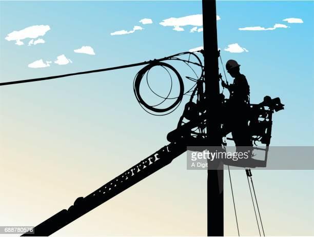 ilustraciones, imágenes clip art, dibujos animados e iconos de stock de city electricity - electricista