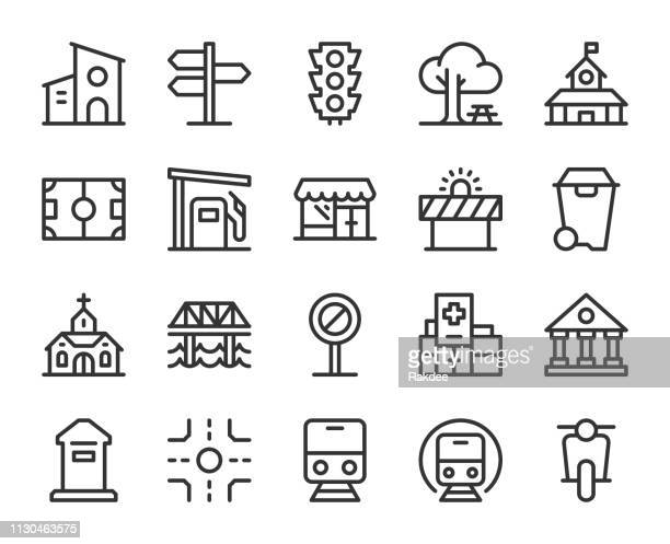 city element - line icons - directional sign stock illustrations