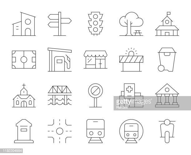 city element-thin line icons - wegweiser stock-grafiken, -clipart, -cartoons und -symbole