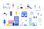 City elements - flat design style set of isolated objects