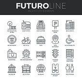 City Elements Futuro Line Icons Set