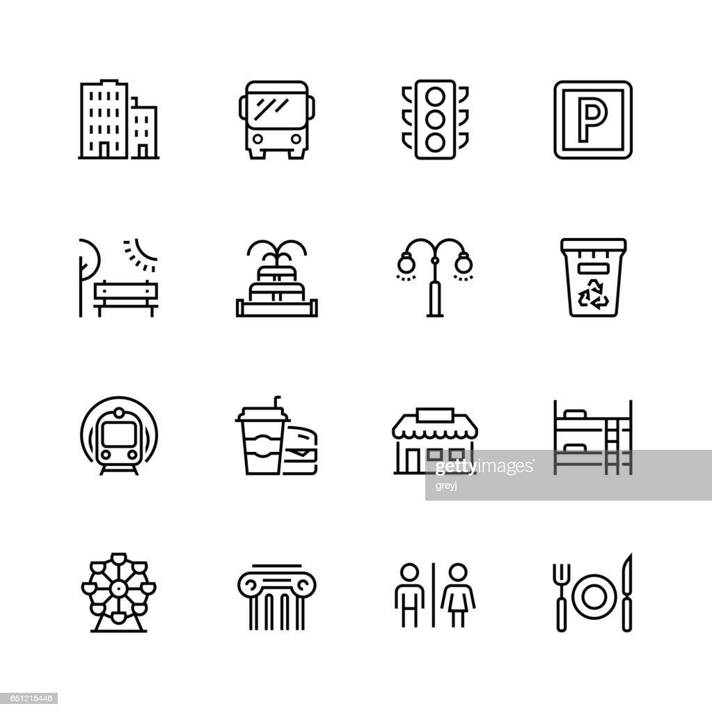 City elements icon set in thin line style