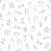 City elements icons pattern
