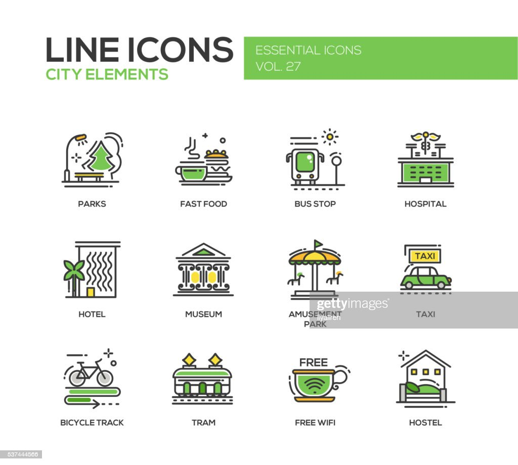 City elements - line design icons set
