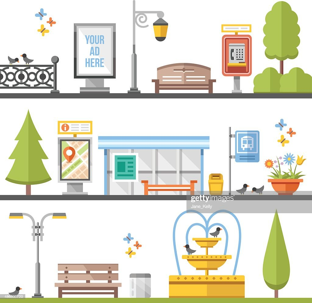 City elements, outdoor elements and city scenes flat illustrations set