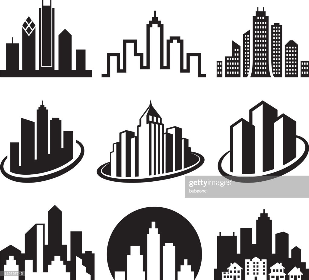 City Emblem black & white royalty free vector icon set