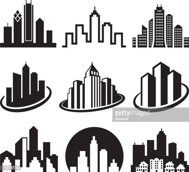 City Emblem black & white royalty free vector icon set