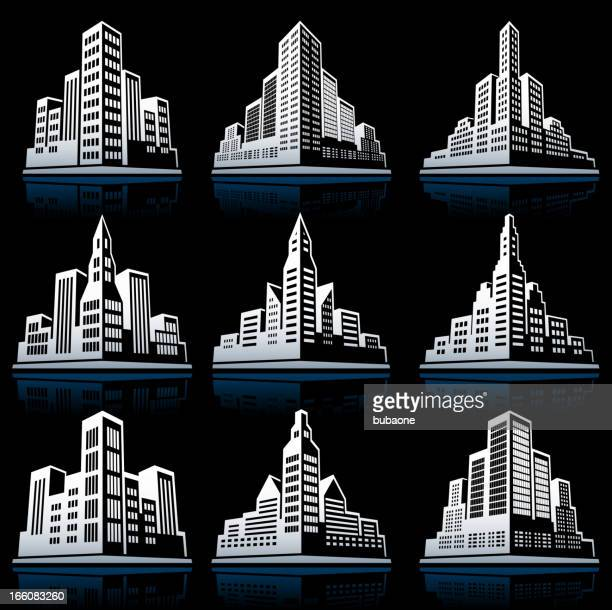 3d city emblem black & white vector icon set - model to scale stock illustrations, clip art, cartoons, & icons