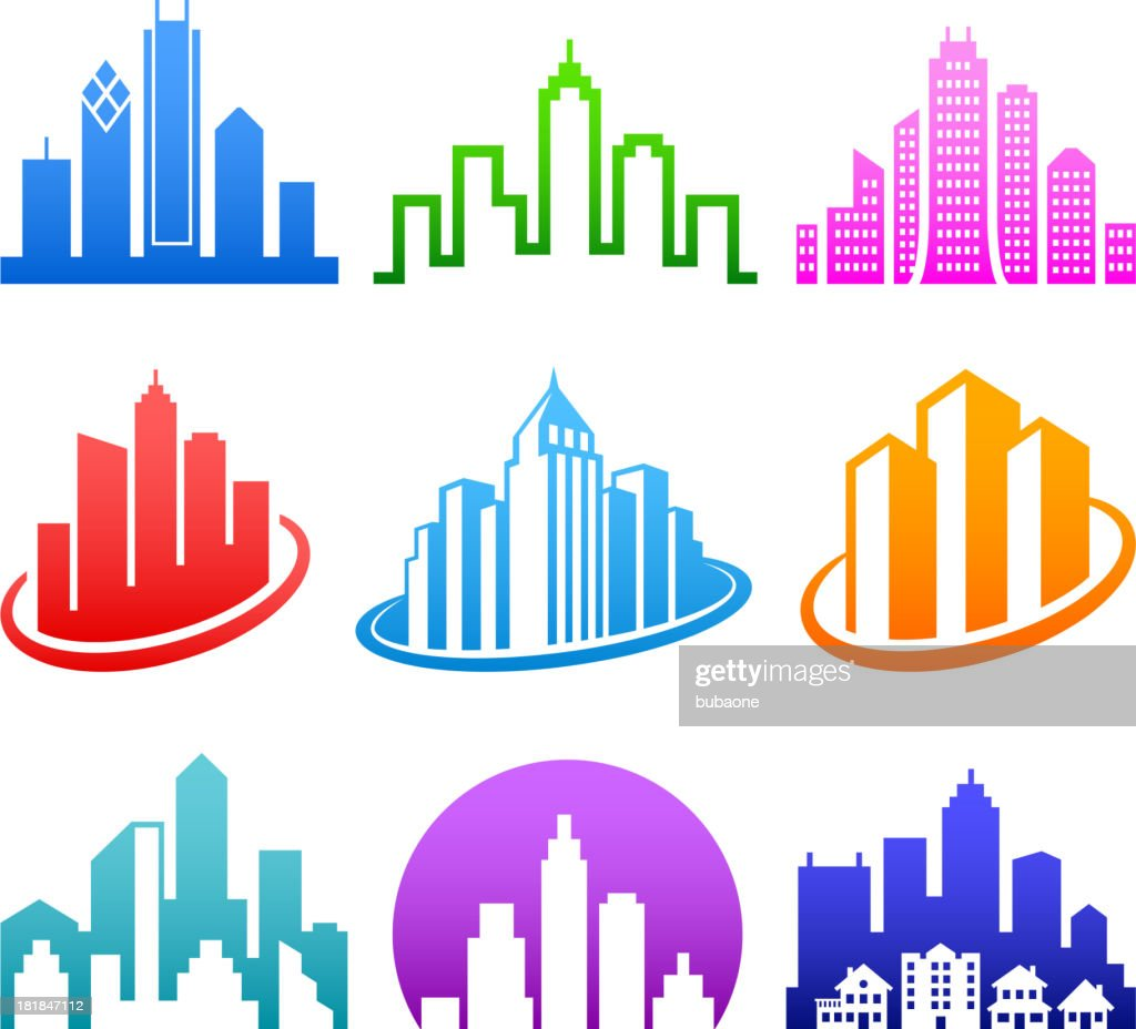 City Emblem color royalty free vector icon set : stock illustration